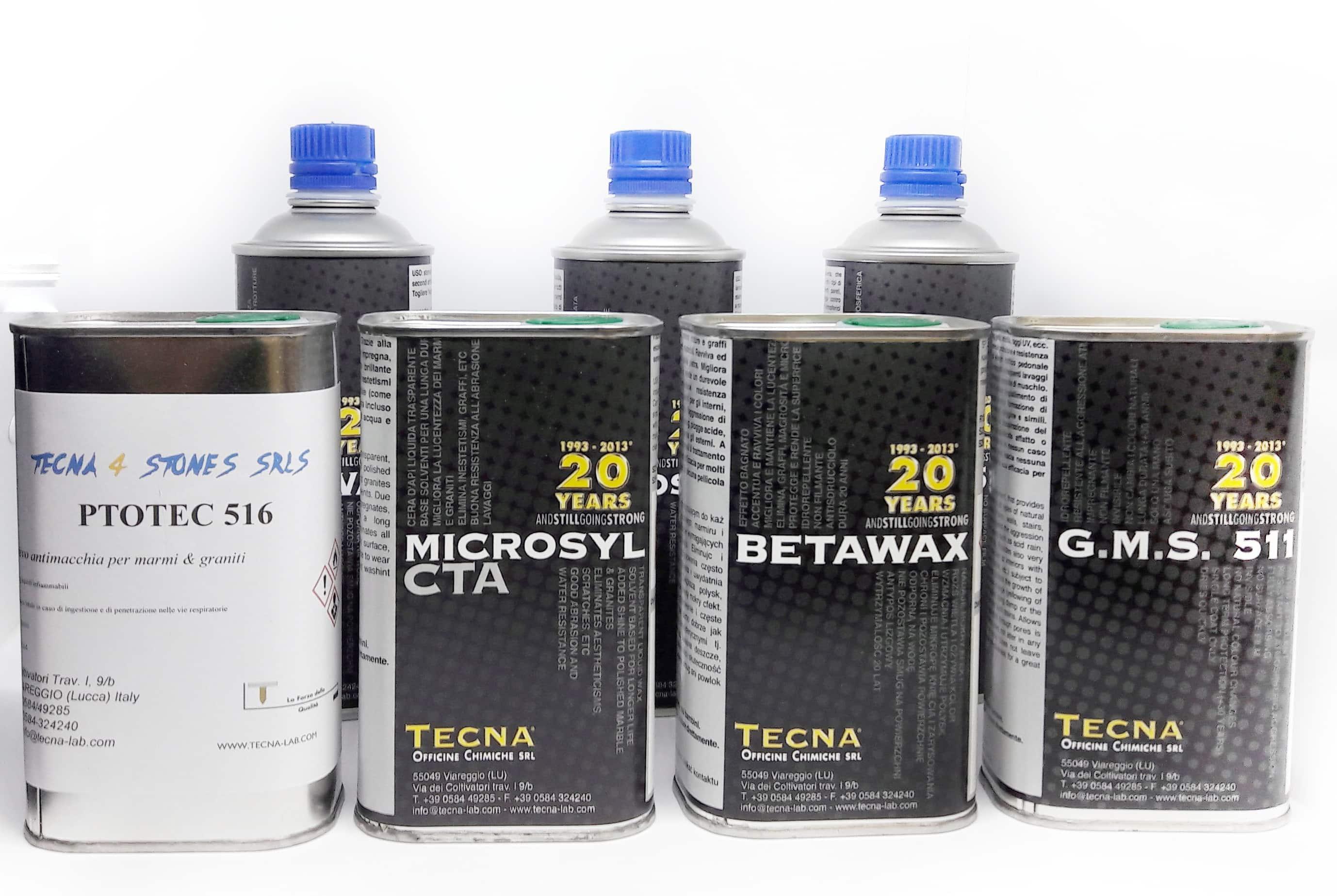 impregnaty TECNA, BETAWAX, PROTEC 516, GMS 511, MICROSYL